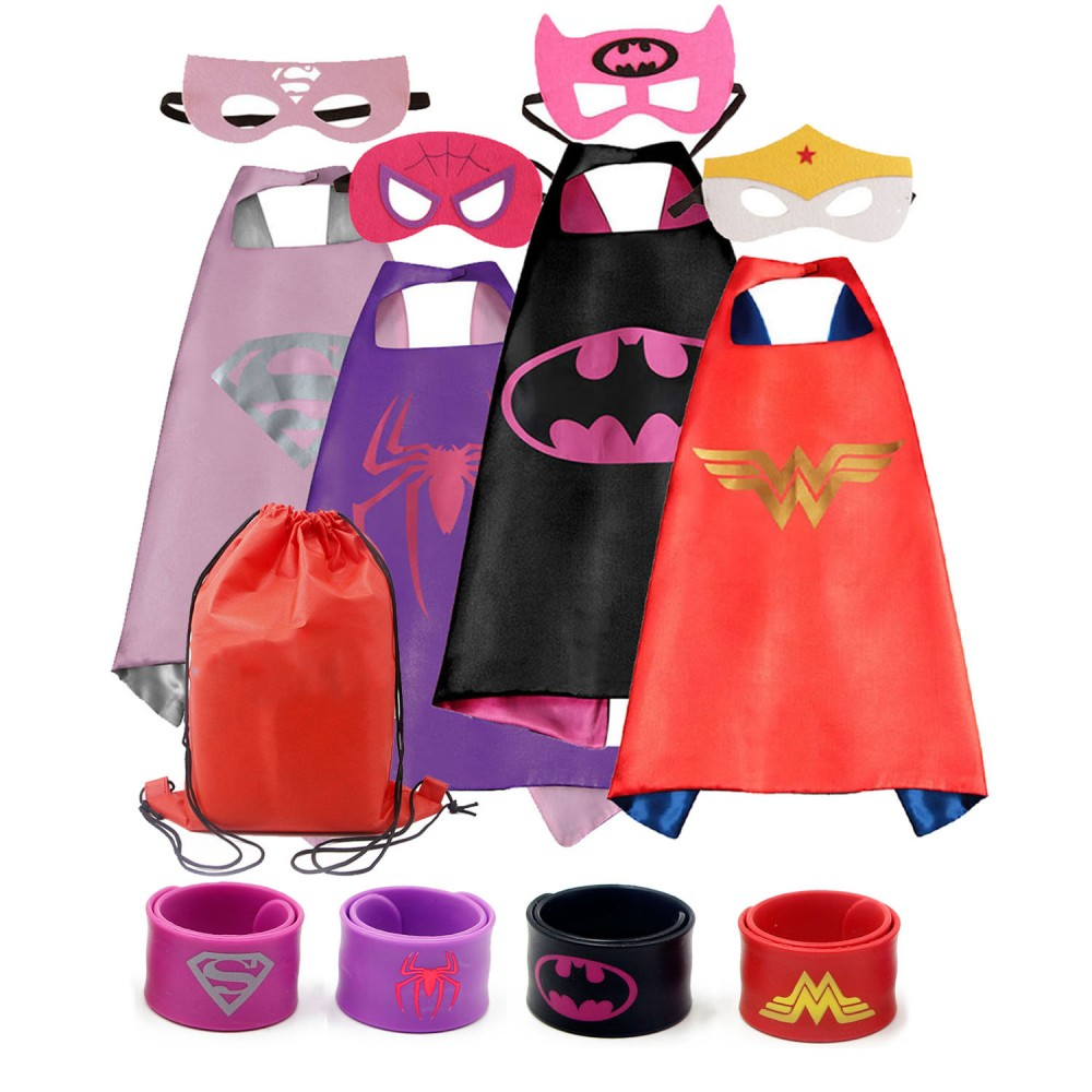 de6dde099c5c COTATERO Dress up Costume Cape and Mask Set with Matching Shaped Rubber  Wristbands for Kids, Birthday Party Children 4pcs